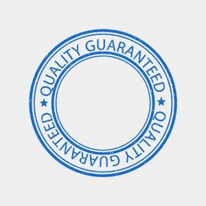 a blue quality guaranteed sign