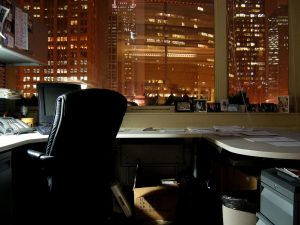 an office at night