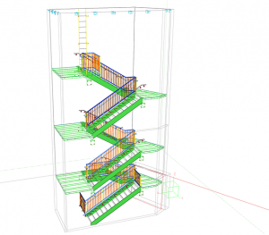 Blueprints of the stairs in a house