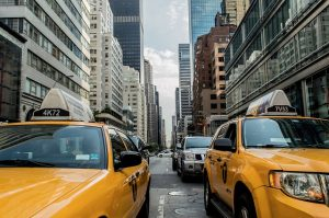 New York streets with yellow cabs