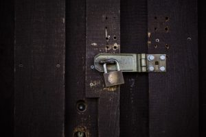 Closed door with a lock.