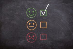 write a review for a moving company - happy and sad faces