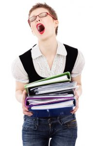 Women screaming about the big pile of post-move paperwork that she has to handle.
