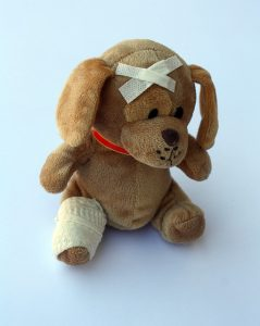 Stuffed toy wrapped in bandages