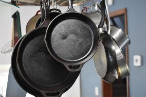 Pots and pans can be hung over the kitchen island.