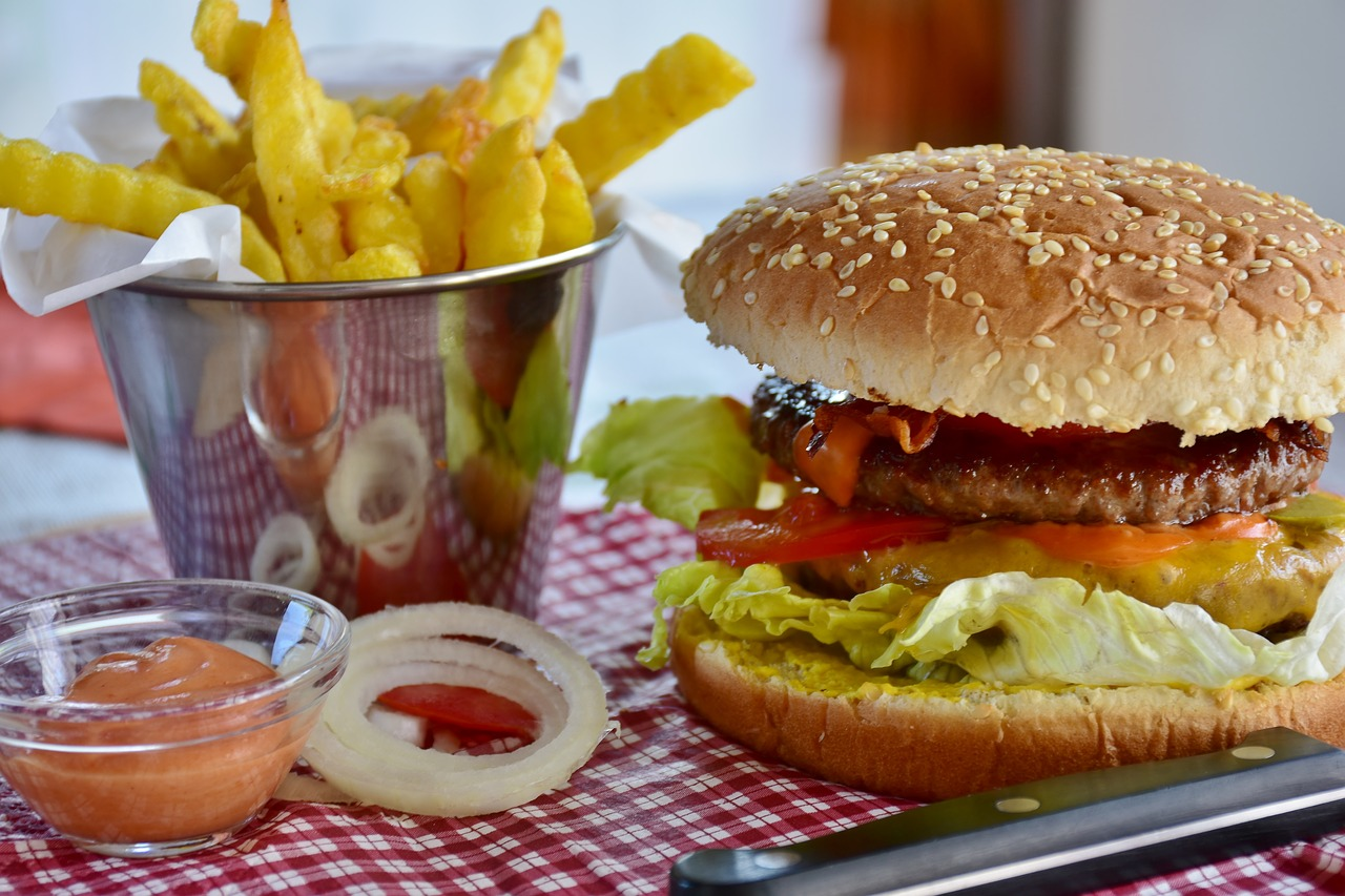 Picture of burger and french fries