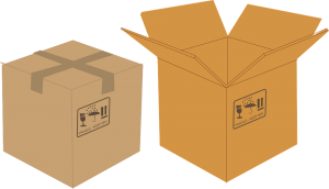 different sized boxes help when you want to pack your kitchen in a day