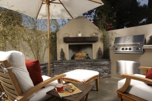 some home improvements require permits, like the fireplace outside your home